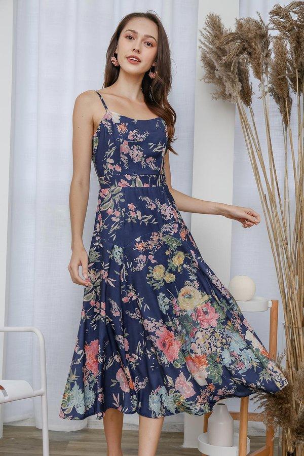 Orient Fleursome Maxi Dress Navy Blue