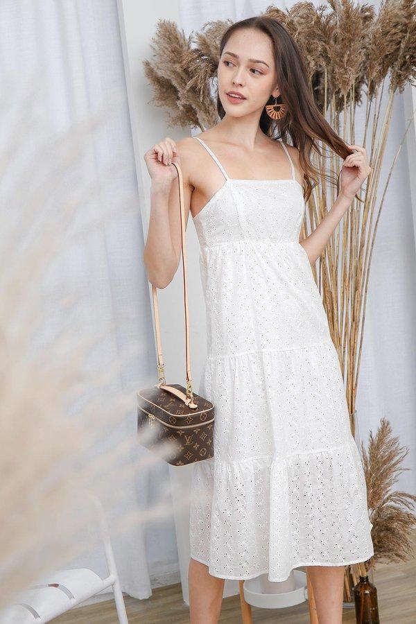 Tiers in my Eyelets Swing Midi Dress White