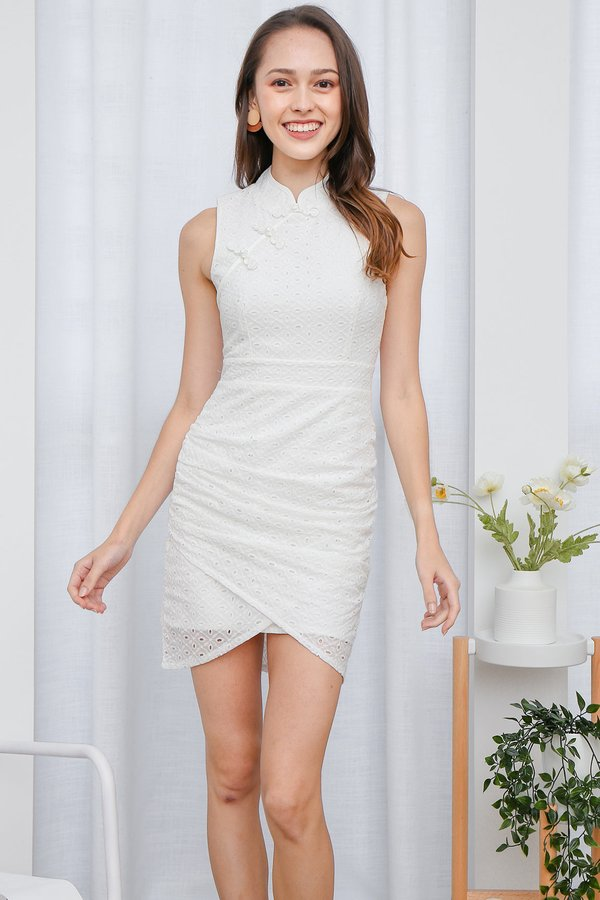 Radiantly Ruched Eyelet Cheongsam Dress White