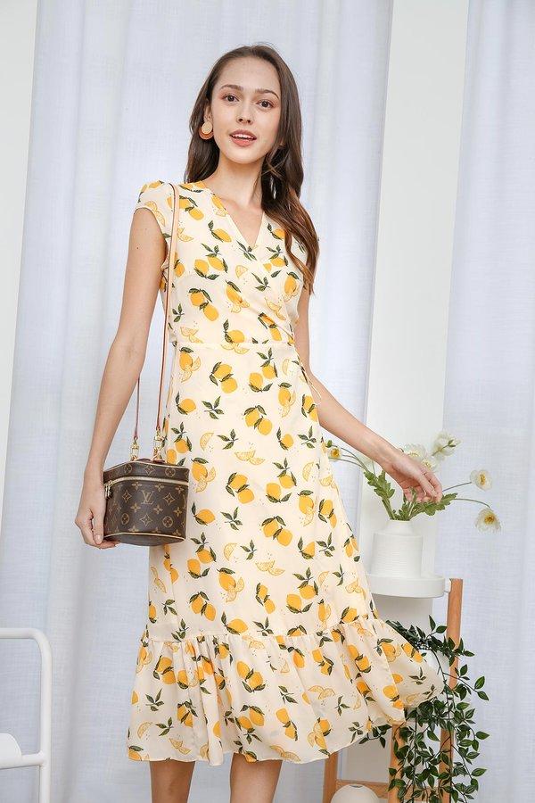 For Love and Lemons Ruffle Wrap Midi Dress