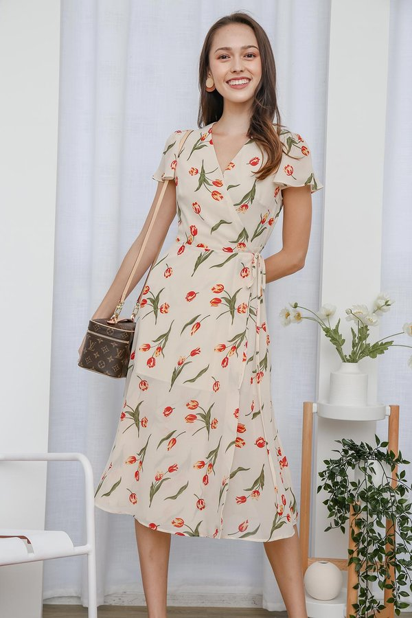 Tulips Pave The Way Wrap Midi Dress