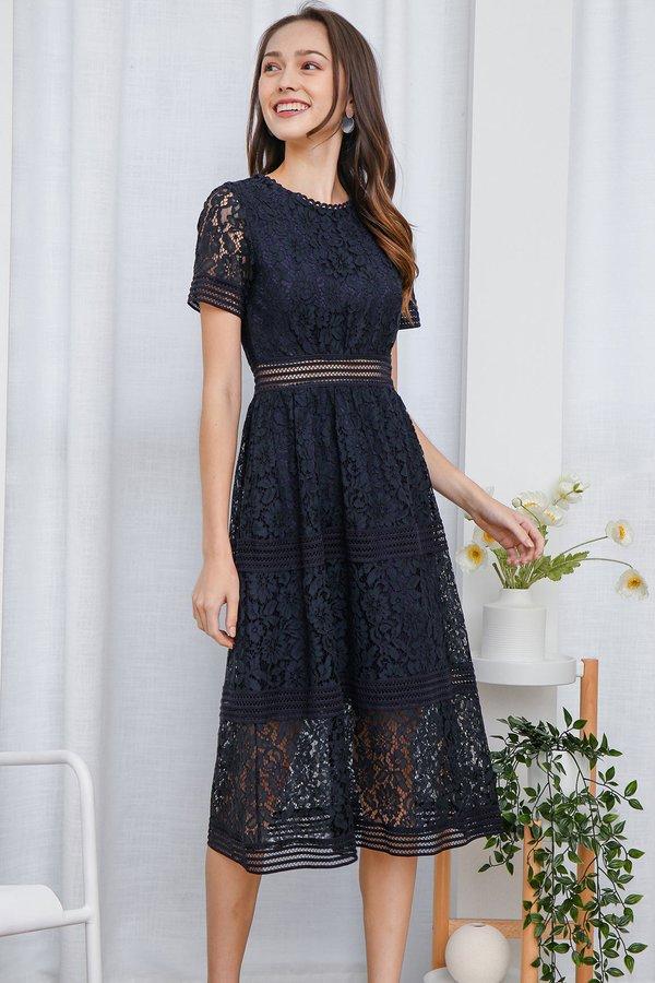 Resplendently Laced Crochet Midi Dress Navy Blue