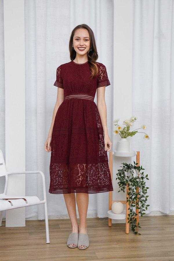Resplendently Laced Crochet Midi Dress Burgundy Red