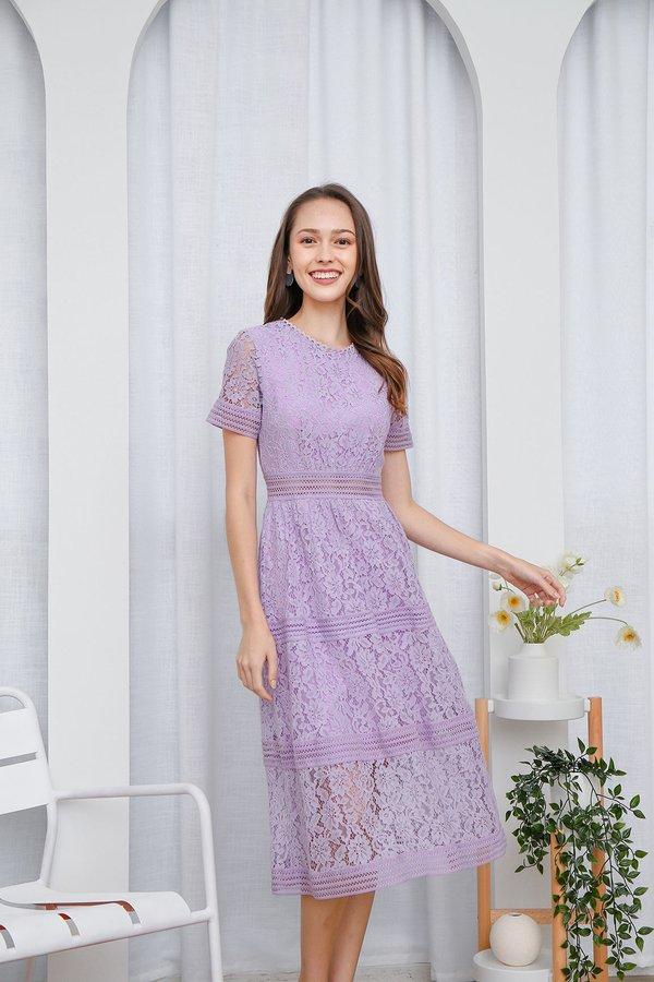 Resplendently Laced Crochet Midi Dress Lilac