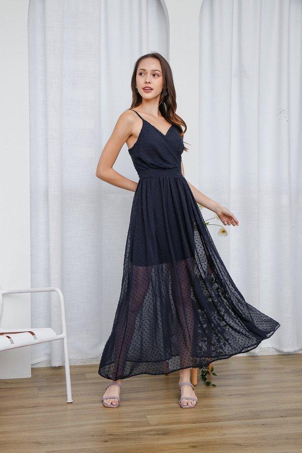 Sheer Beauty Swiss Dots Wrap Slit Maxi Dress Navy Blue