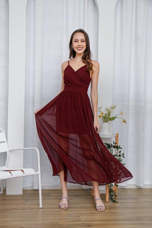 Sheer Beauty Swiss Dots Wrap Slit Maxi Dress Burgundy Red