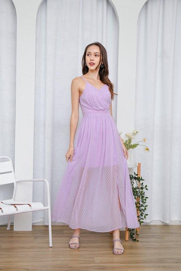Sheer Beauty Swiss Dots Wrap Slit Maxi Dress Lilac