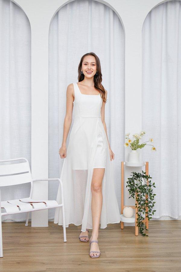Graceful Glowing Statement Slit Maxi Dress White