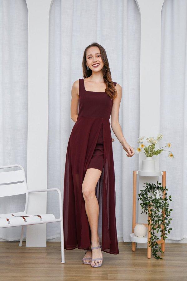 Graceful Glowing Statement Slit Maxi Dress Burgundy Red