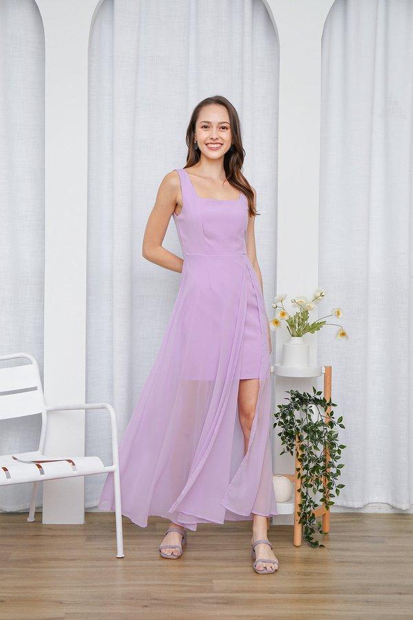 Graceful Glowing Statement Slit Maxi Dress Lilac