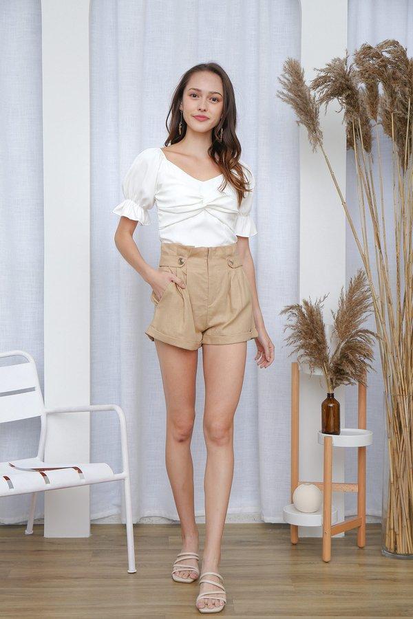 Paperbag Pilgrimage Linen Shorts Tan