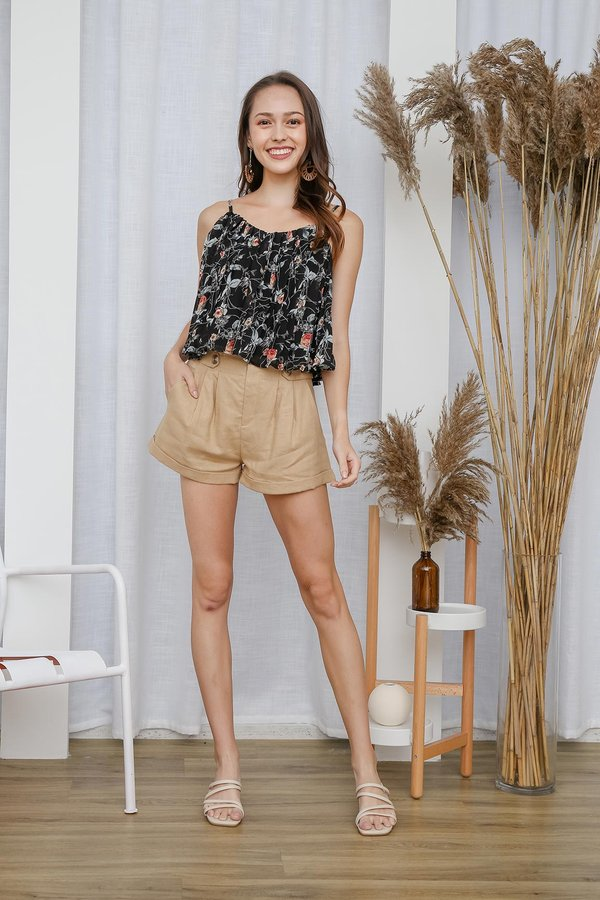 Poetically Pleated Posies Floral Camisole Black