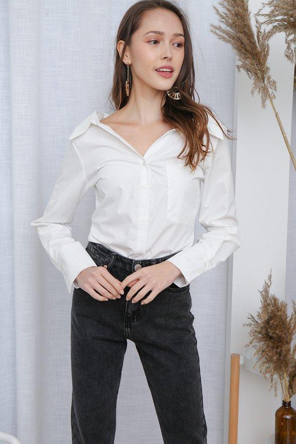 Minimalist Mannish Oversized Shirt White