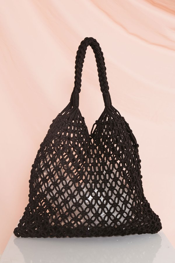 Netted Necessity Woven Bag Black