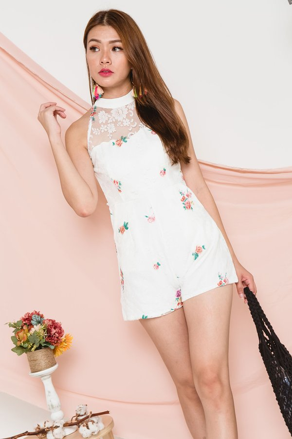 Embroidery High Lace Romper White