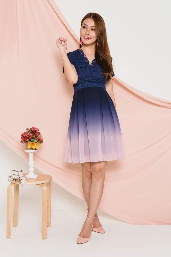 Ornately Ombre Lace Dress Pastel Sky