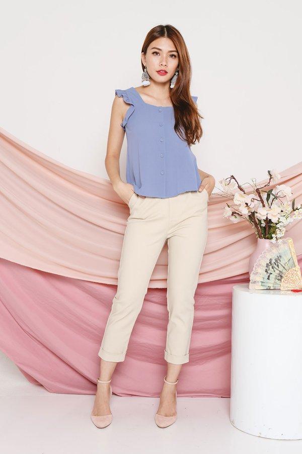 Fluttery Basic Button Shirt Dusk Blue