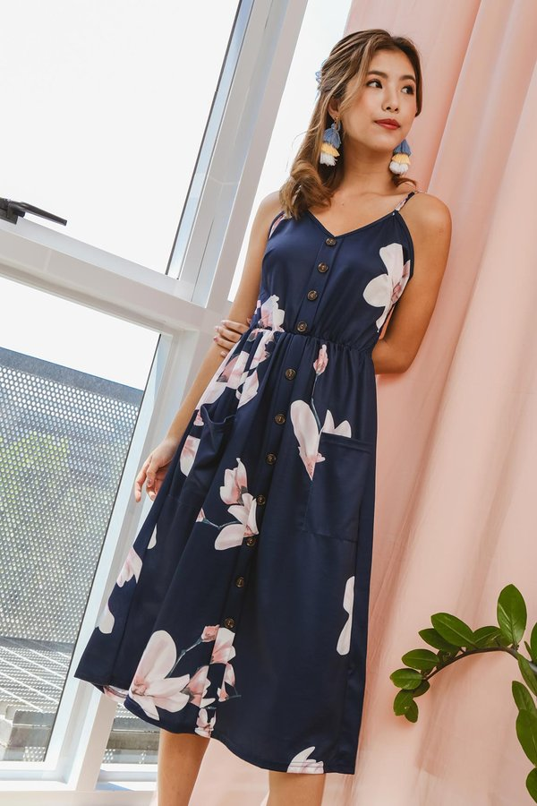Buttons Booster Summer Midi Dress Navy Floral
