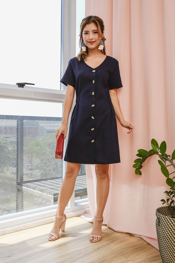 Back to Buttons Dress Navy Blue