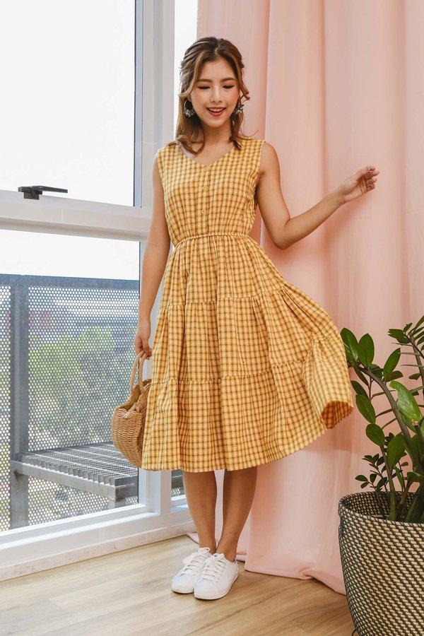Tiers of Sunshine Gingham Dress Yellow