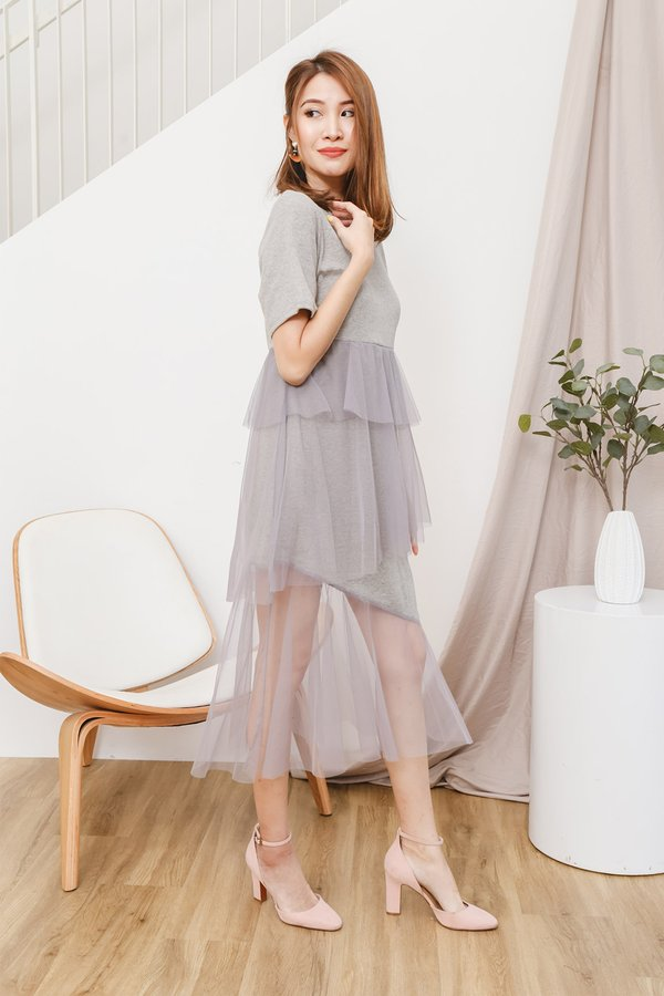 Tulle The End of Time Tee Midi Dress Ash Grey