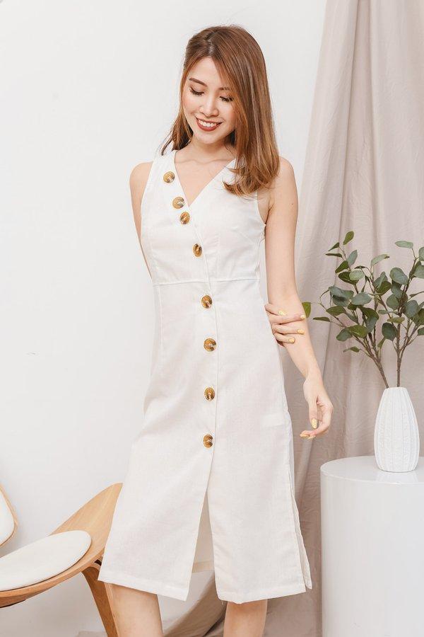 Button Your Best Linen Midi Dress