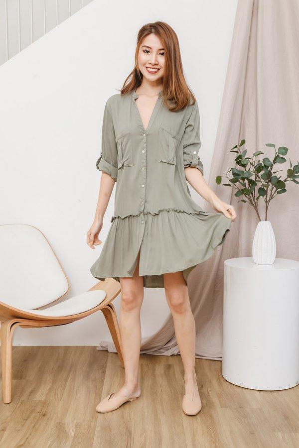 Safari Utility Button Dropwaist Shirt Dress Sage Green