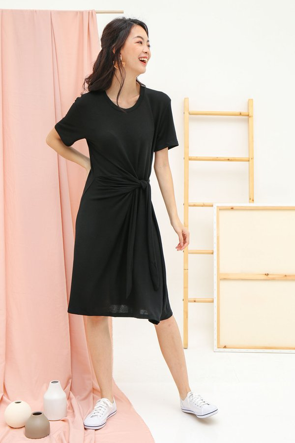 Knotted Necessity Tee Dress Black