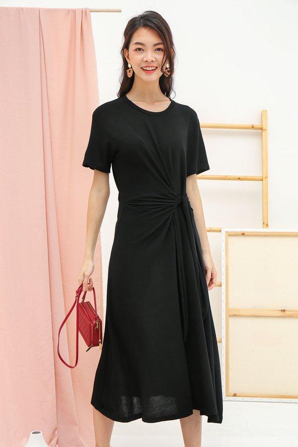 Knotted Lengths Midi Tee Dress Black