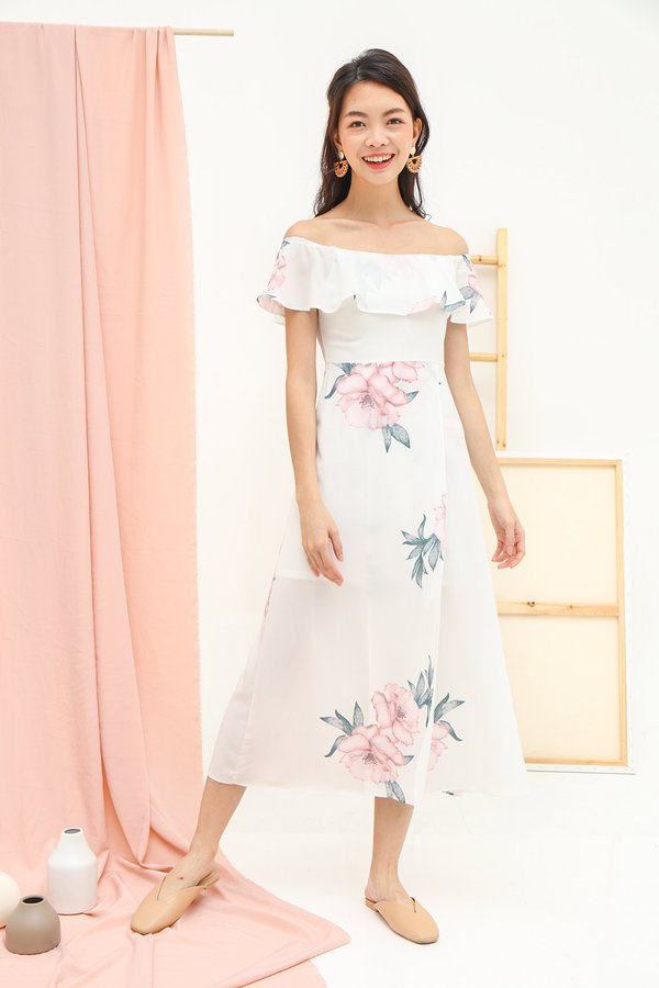 Freestyle Florals Offshoulder Maxi Dress White