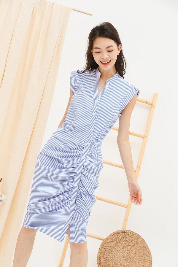 Streamlined Silhouette Ruching Button Midi Shirt Dress Stripes