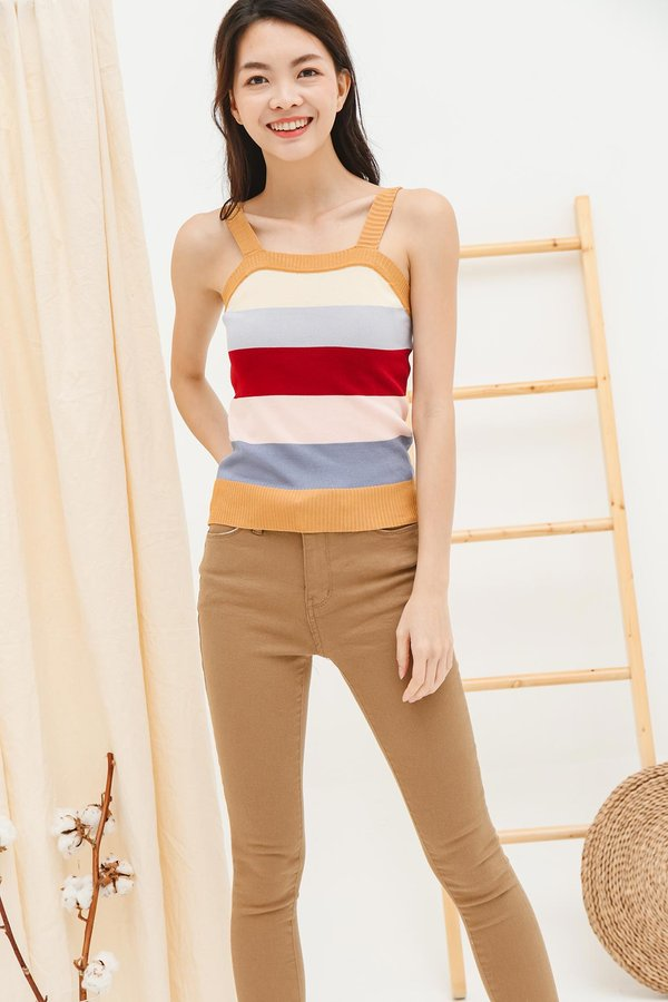 Colours of the Earth Stripe Knit Top Mustard