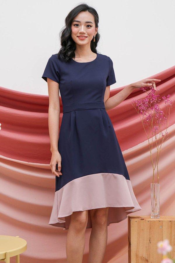 Fishtail Felicity Colourblock Midi Dress Navy Blue