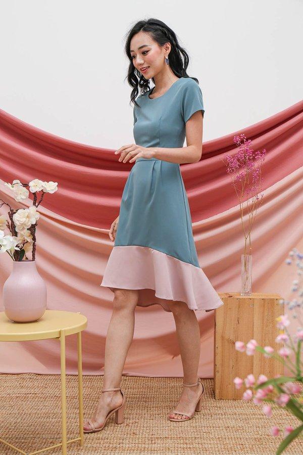 Fishtail Felicity Colourblock Midi Dress Teal