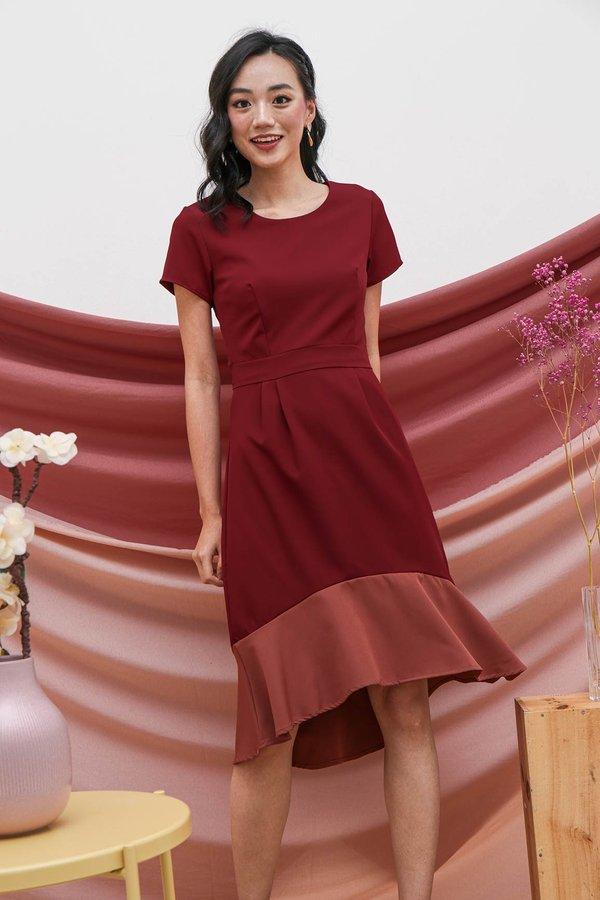 Fishtail Felicity Colourblock Midi Dress Rosewood