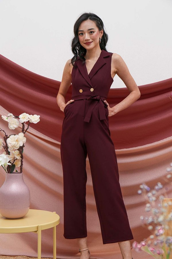 Sartorially Coated Jumpsuit Burgundy Red