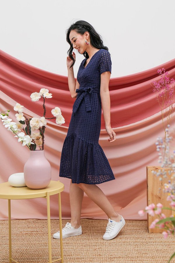 Buttoned Up Eyelet Whimsy Midi Dress Navy Blue
