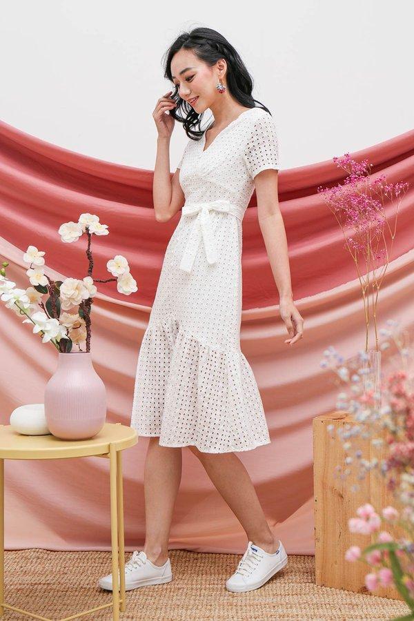 Buttoned Up Eyelet Whimsy Midi Dress White