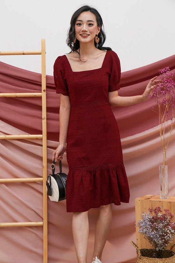 Primed for Princess Eyelet Dropwaist Dress Burgundy Red