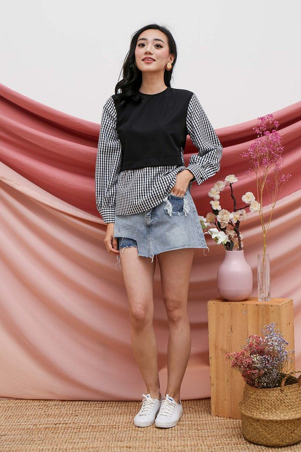 Youthful Years Faux Layered Blouse Black