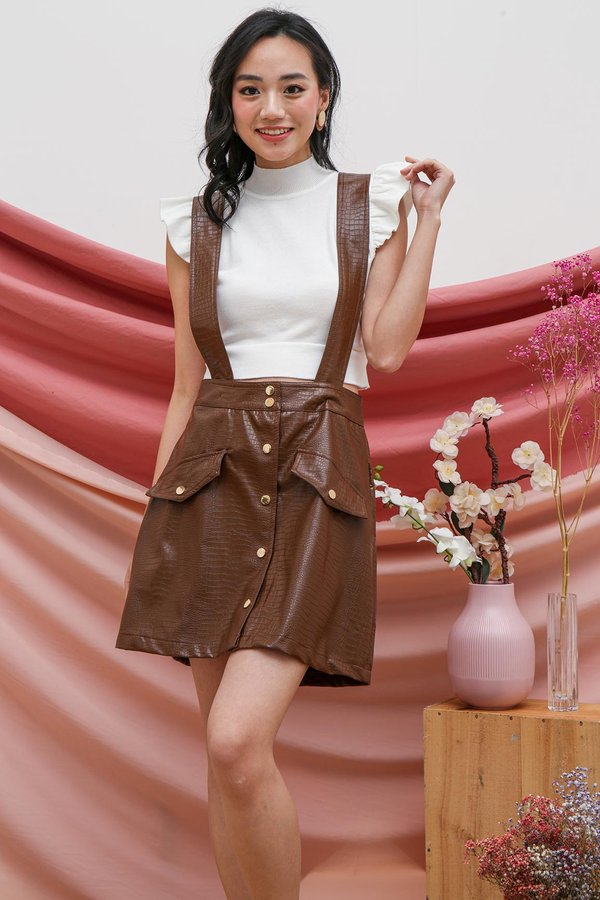 Leathery Luxe Overalls Dungaree Dress