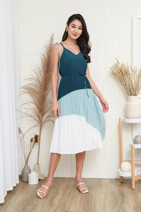 Multi Pleated Muse Colourblock Dress Forest Green
