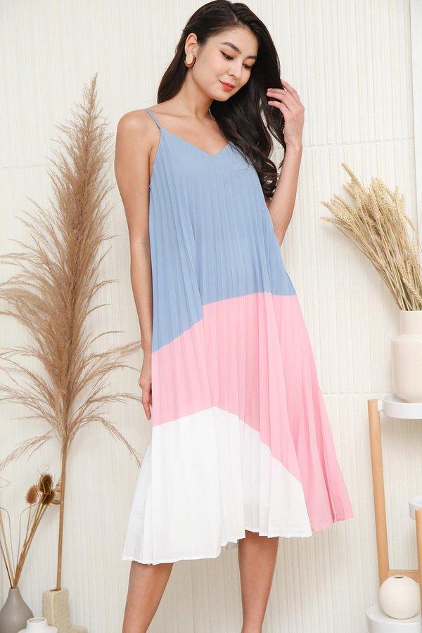 Multi Pleated Muse Colourblock Dress Blue Pink