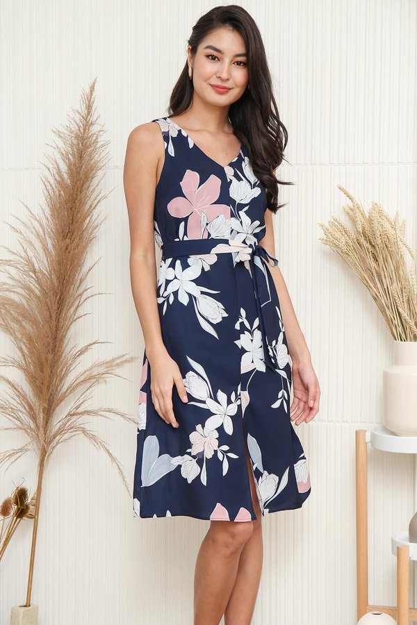 Seashells in Paradise Floral Tent Dress Navy Blue