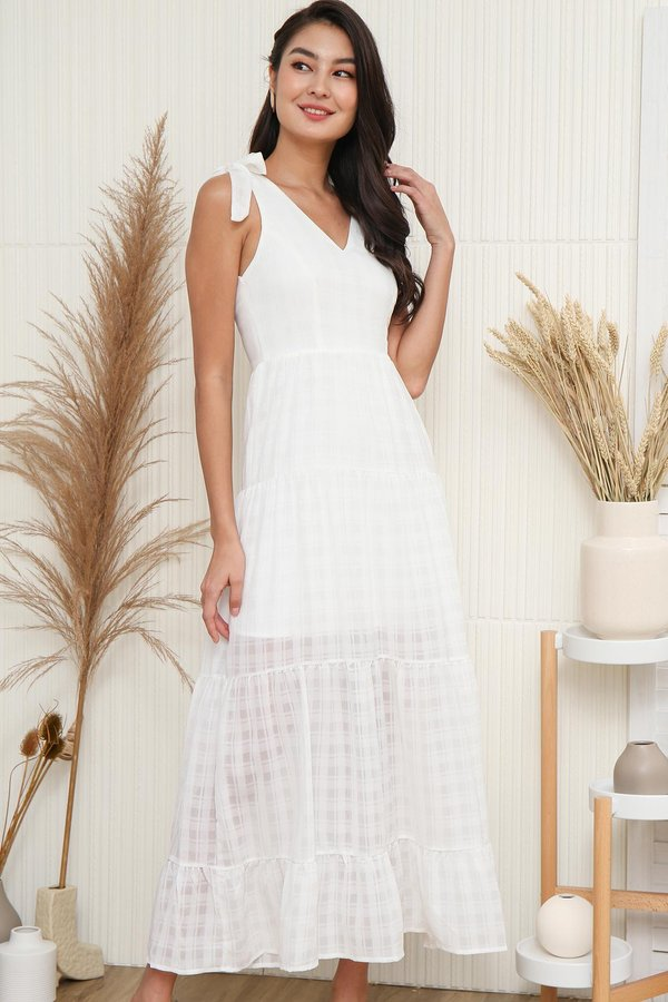 Tales of Tiers Swing Maxi Dress White