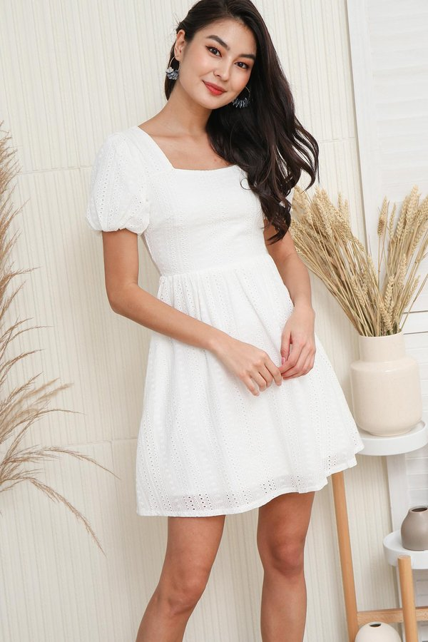 Nuanced Ripples Eyelet Puff Sleeve Dress White