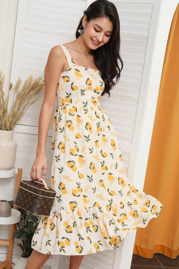 Zest for Life and Lemons Citrus Print Dropwaist Dress
