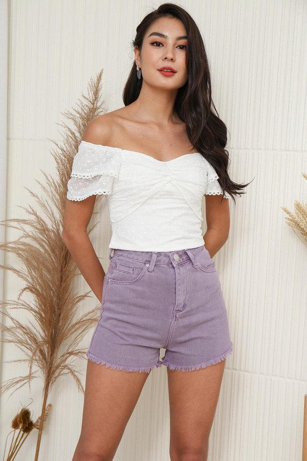 A Twist of Fate Ruch Knot Broderie Top White