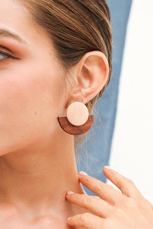 Earthen Nature Wood Stud Earrings