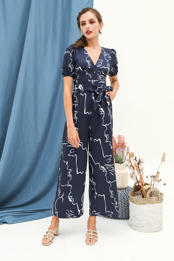 Abstractionally Tailored Print Jumpsuit Navy Blue